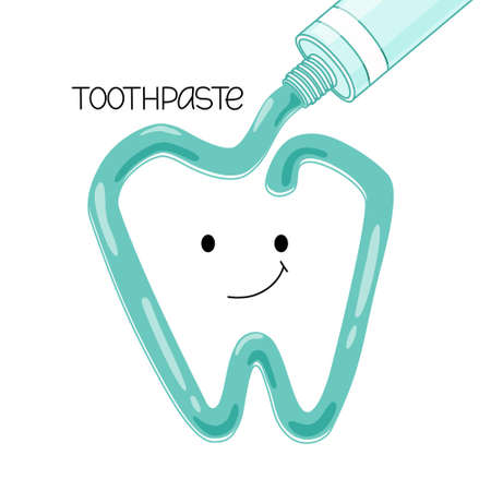Vector illustration of toothpaste squeezed out of a tube. A smiling tooth. Isolated background.