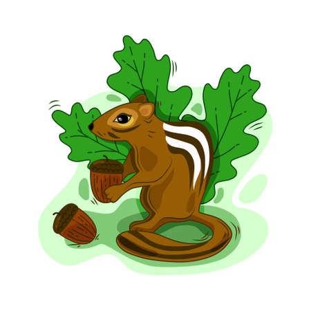 A Chipmunk holds a nut. Cartoon vector illustration on an isolated background. Suitable for print and web usage.