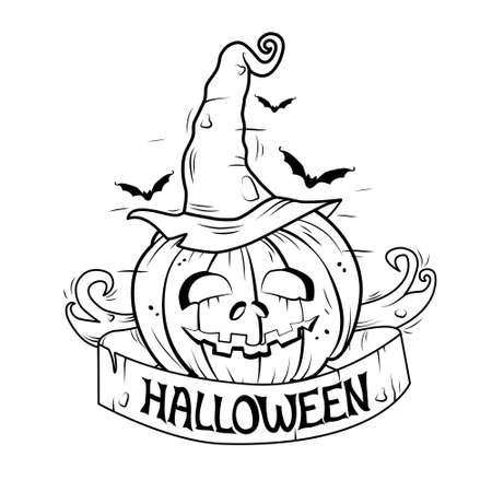 Halloween black and white illustration. Vector. Banner, coloring book.