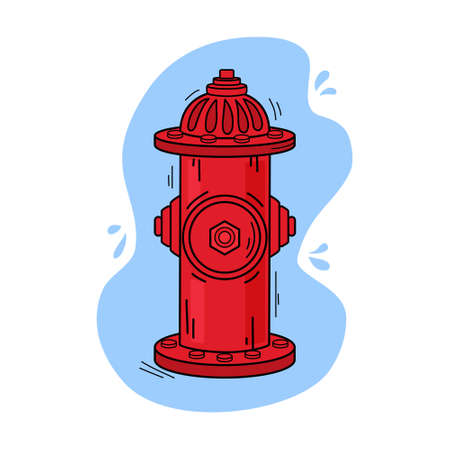 Bright red fire hydrant with water isolated vector illustration on white background. A tool used by firefighters to extinguish flames.  イラスト・ベクター素材