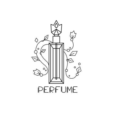 Perfume bottle on a white isolated background. Vector illustration. Linear style. Logo.