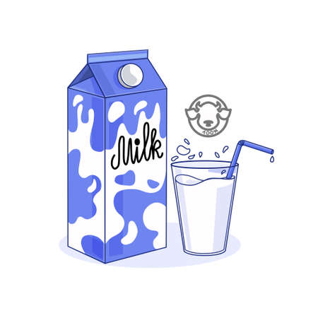 Vector illustration of milk packaging and a glass of milk on a white isolated background. Logo. Icon for the Internet.
