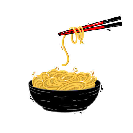 Oriental noodles with chopsticks isolated on a white background. Vector illustration.  イラスト・ベクター素材