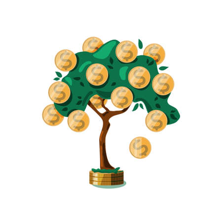 Money tree with dollar coins on a white isolated background. The concept of growth, wealth, Deposit. Vector.