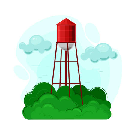 Water tower vector illustration. Farmhouse, the object of rural life and the rural landscape.