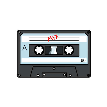 Audio tape is a flat vector drawing on a white isolated background. Vektorgrafik