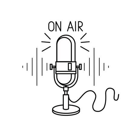 Retro microphone isolated on a white background. Podcast. Radio. Design element for an emblem, sign, or logo. Vector illustration.  イラスト・ベクター素材