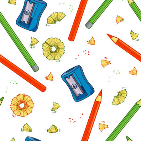 Colorful vector seamless pattern with sharpener and pencils. Isolated background. For your design  イラスト・ベクター素材