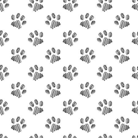 Seamless vector pattern with paws on a white isolated background.  イラスト・ベクター素材