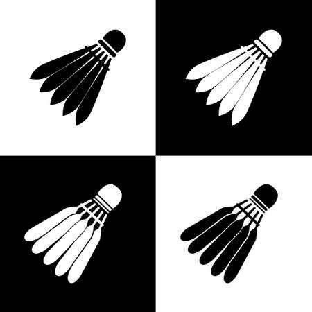 Vector icon of a badminton shuttlecock. Black and white on an isolated background.  イラスト・ベクター素材