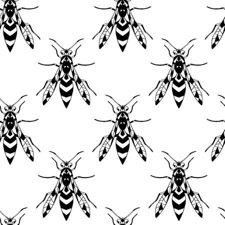 Black and white vector seamless pattern with wasps on a white isolated background. For your design.
