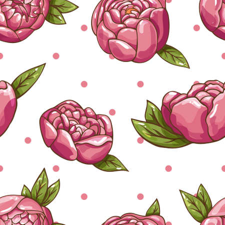 Vector seamless flower pattern on a white isolated background. Peonies and circles drawn by hand.  イラスト・ベクター素材