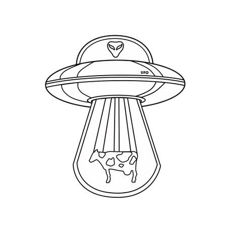 UFO with an alien and a cow. Outline of a UFO. Flying saucer. An alien spaceship isolated on a white background. Coloring book, Vector icon.  イラスト・ベクター素材