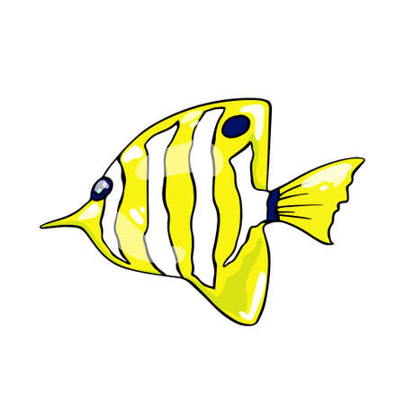 Colorful butterfly fish on an isolated background. Vector.  イラスト・ベクター素材