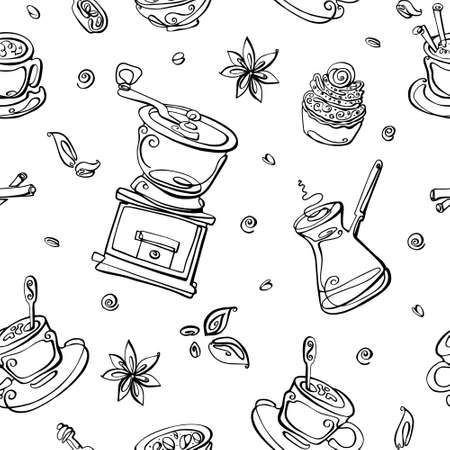 Vector seamless pattern with coffee elements. Coffee maker, coffee grinder, grains, Americano, Cup, vanilla, cinnamon. For banner, background, and decor.
