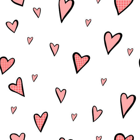 Seamless simple pattern with hearts. Vector illustration.  イラスト・ベクター素材