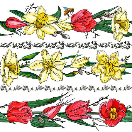 A set of vector design elements, including seamless floral patterns. Hand drawn flower collection.  イラスト・ベクター素材