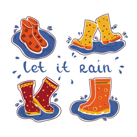 Vector set with rubber boots and text. Hygge. Isolated background.