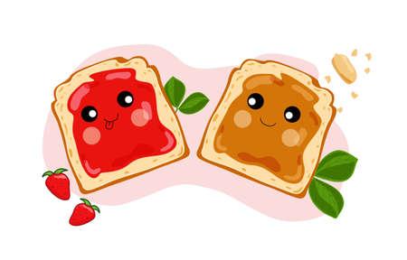 Cute peanut butter and jelly sandwiches. Vector illustration. Ilustración de vector