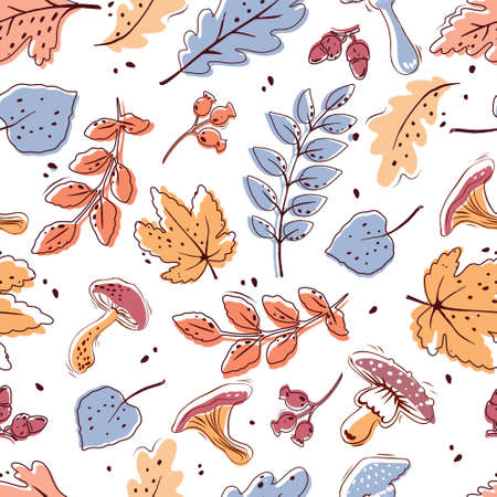 Autumn seamless pattern on a white background. Leaves, mushrooms, acorns, berries. Vector.