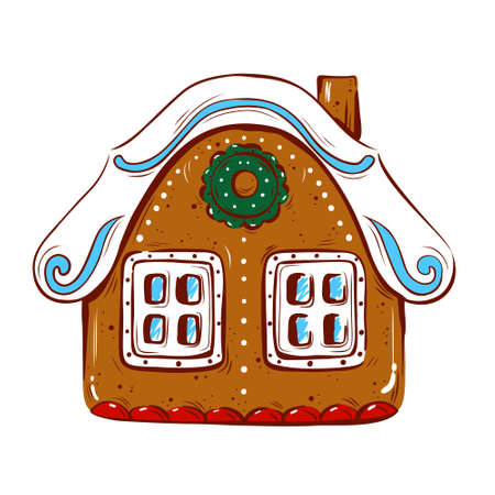 Vector illustration with a gingerbread house on a white isolated background. Hand-drawn. Christmas and New year.