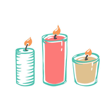 Scented candles for aromatherapy are isolated on a white background. Vector illustration with hygge home decoration, a festive decorative design element. Flat cartoon colorful illustration.