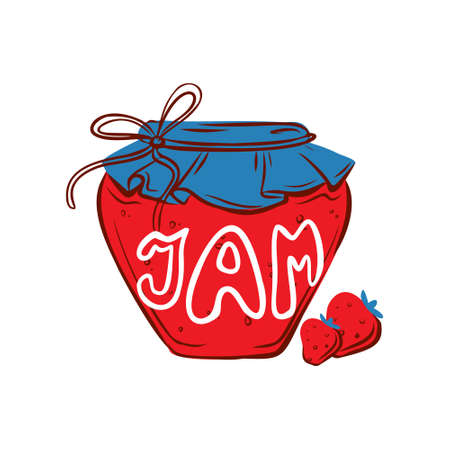Strawberry jam jar. Hand drawn illustration for sticker, pattern, logo design and other autumn design. Hygge. Healthy food, diet, organic food.