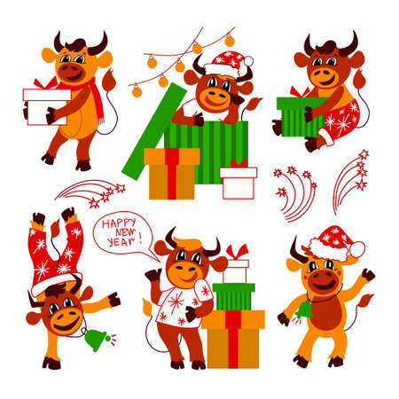 Set of cute Christmas bulls. Happy New Year. Cartoon. Symbol of the Chinese New year. Christmas card. 2021. Flat vector illustration on isolated on white background.