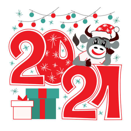 Festive new year card. Symbol of the year bull. Cute. Vector.  イラスト・ベクター素材