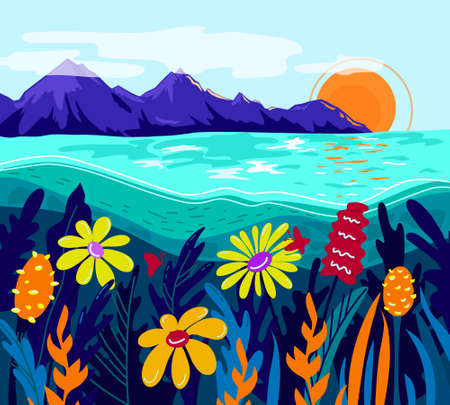 Vector colorful landscape. Mountains, sea, flowers. Summer.  イラスト・ベクター素材