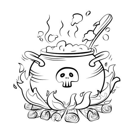 Magic Witch's cauldron with boiling potion on the fire. With the skull. Halloween. Vector. Isolated background.
