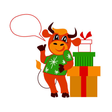 Vector illustration with symbol of the year of the bull. Chinese new year. Christmas. Isolated background.