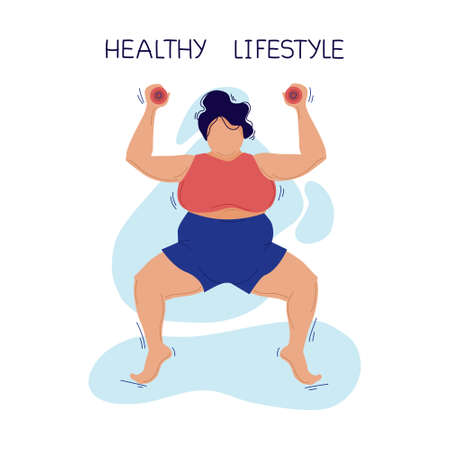 Fat woman plays sports. Vector illustration. Isolated background.