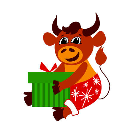 Vector illustration with symbol of the year of the bull. Cartoon character. Isolated background.