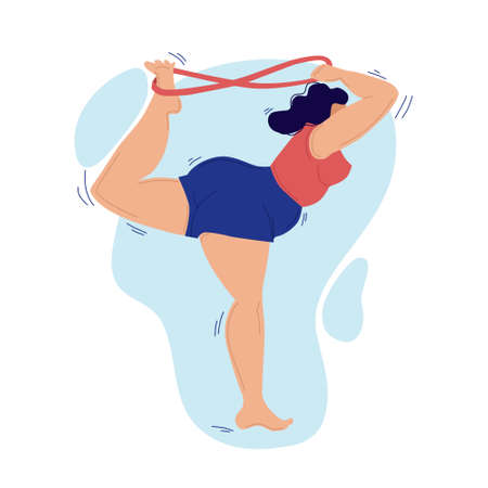 A plump woman goes in for sports. Icon.Vector. Isolated background.