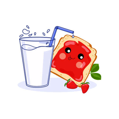 Healthy Breakfast concept a glass of milk and a jam sandwich. Vector illustration. Isolated background.
