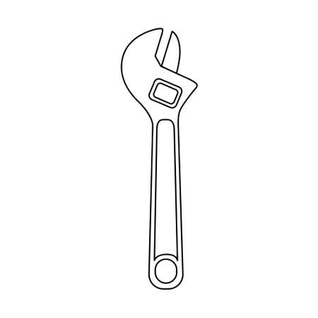 Steel key icon. Simple illustration of a monkey wrench. Vector isolated on a white background.  イラスト・ベクター素材