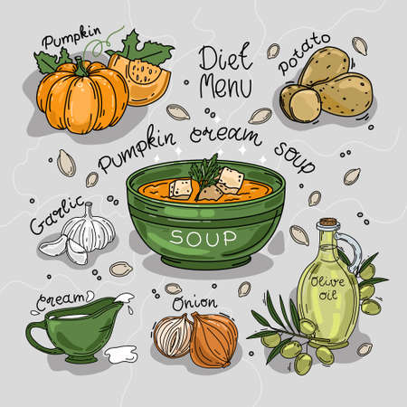 Vector illustration of pumpkin cream soup. Ingredients. Recipe. Isolated background.  イラスト・ベクター素材