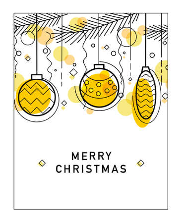 Vector holiday background. Christmas card. In a linear style. Isolated background.