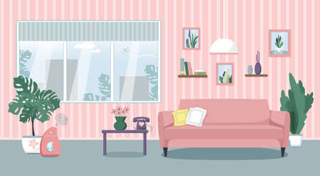 Vector illustration of the living room interior. Comfortable sofa, table, window, indoor plants, humidifier. Flat style.