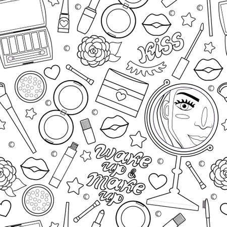 Vector seamless pattern with cosmetics, the mirror, the aesthetics of beauty. Text. Background.
