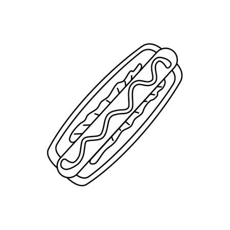 Vector hotdog icon on a white isolated background.