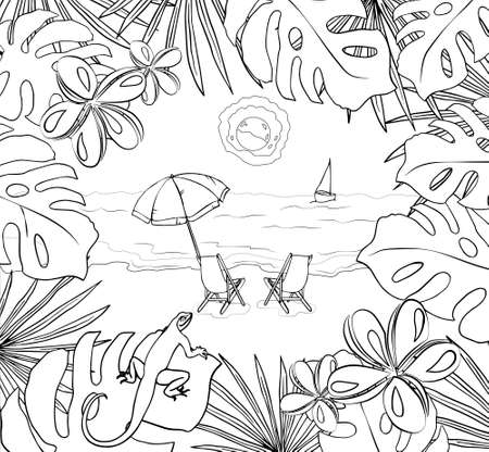Vector hand-drawn illustration of a beach with umbrellas. Exotic background. Coloring pages. Objects are isolated. 向量圖像