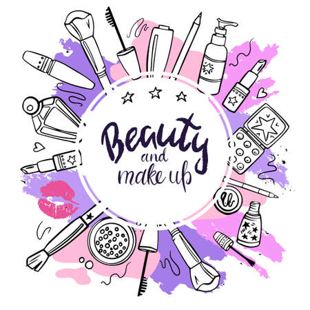 Vector hand-drawn illustration with cosmetics and text. The concept of beauty and makeup. Banner for a website and social networks. Objects are isolated.  イラスト・ベクター素材