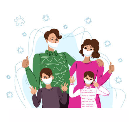 Vector illustration of a family in protective masks, standing together. Protected from viruses and infections. Objects are isolated. 矢量图像