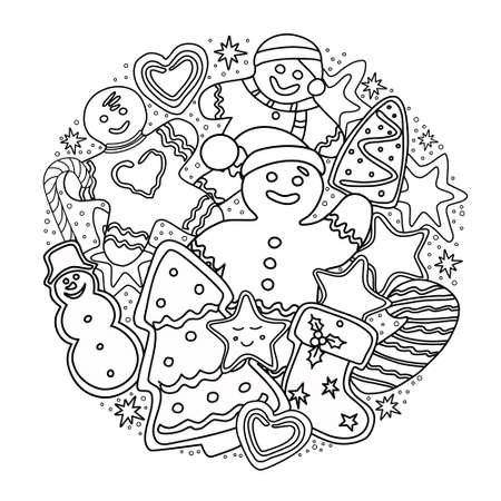 Gingerbread coloring book. Christmas and new year. Vector. Vector Illustration