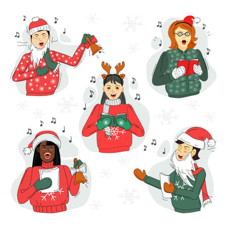 Men and women sing Christmas songs. Set. Vector. Ilustração