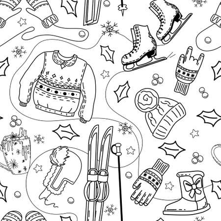 Winter seamless pattern with skates, skis, clothing. Coloring book. Vector. Vecteurs