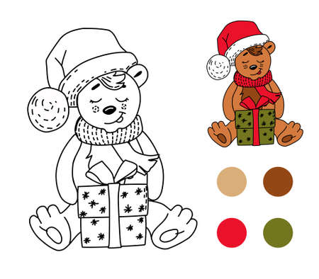 Children's coloring book bear with gift box. Vector illustration.