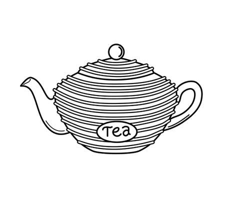Teapot in the outline style on a white isolated background. Vector illustration. Icon. Coloring book.